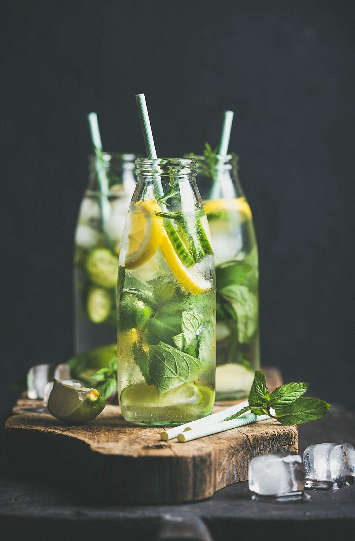 Citrus fruit and herbs infused sassi water for detox, healthy eating or dieting in glass bottles with straws