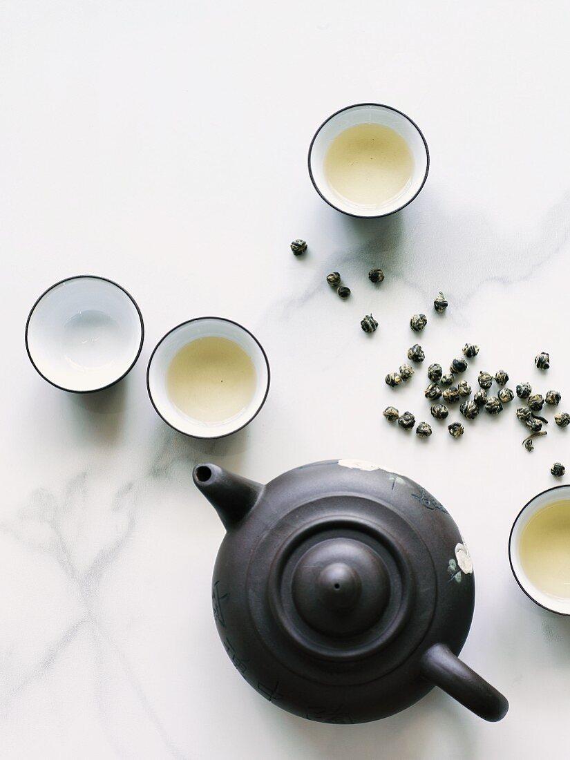Jasmine tea pearls and tea set