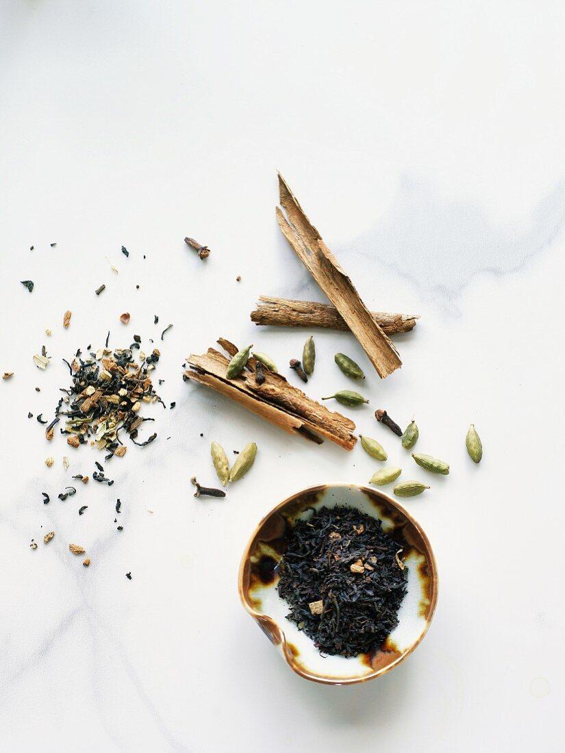 Black tea and chai spices
