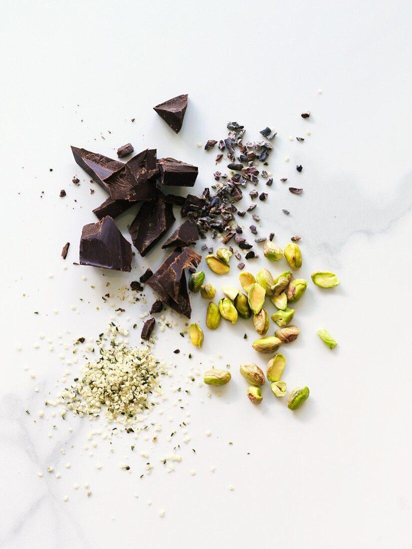 Cacao nibs, pistachios, hemp seeds, dark chocolate