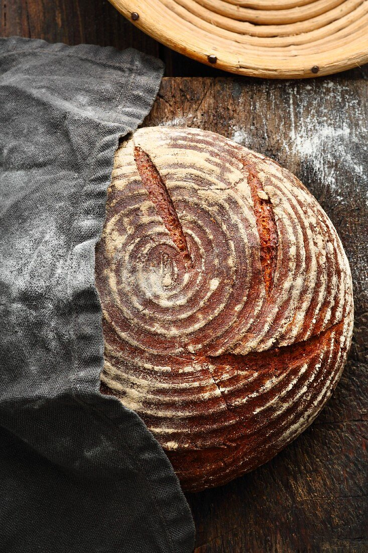 Odenwälder farm house bread with sourdough that has been made in a single stage