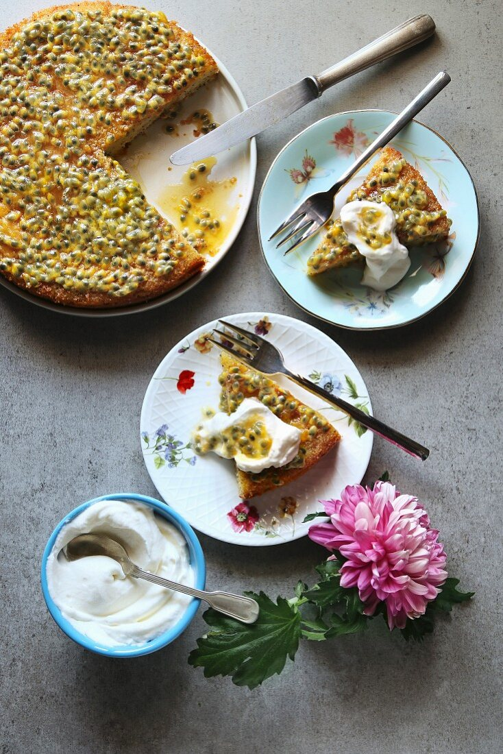 Sponge cake with passion fruit syrup and whipped cream, top view