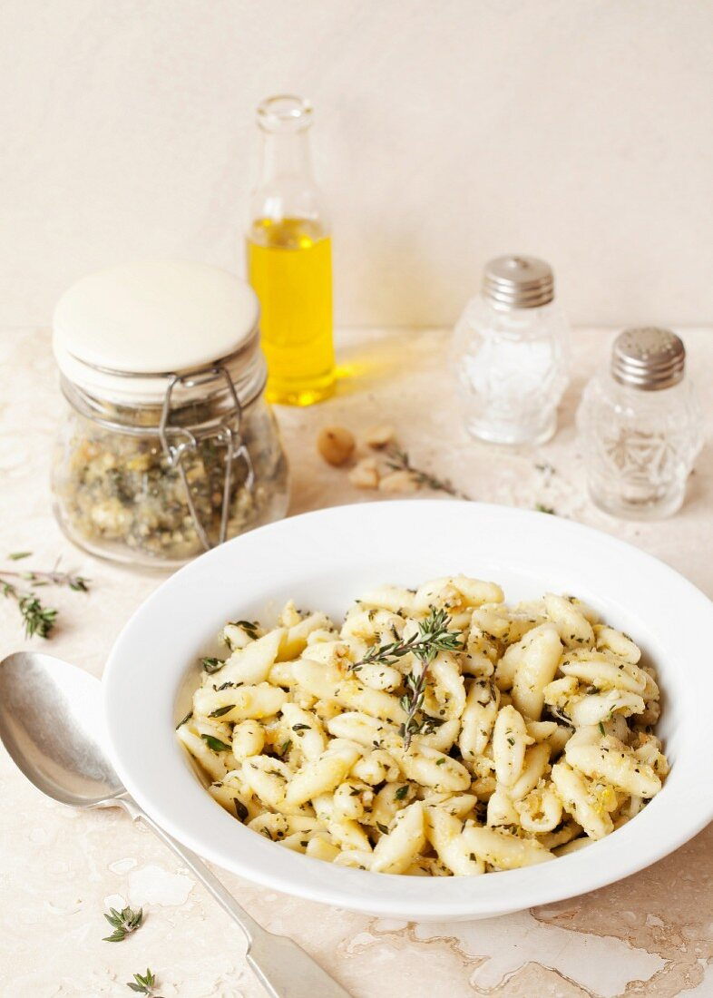 Pasta tossed with Hazelnut Thyme Pesto