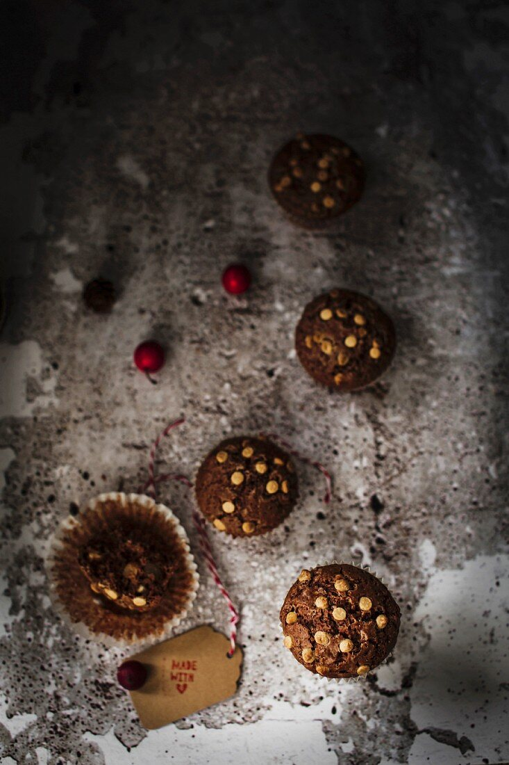 Soft and delicious gluten free muffins studded with candied ginger chunks and white chocolate chips