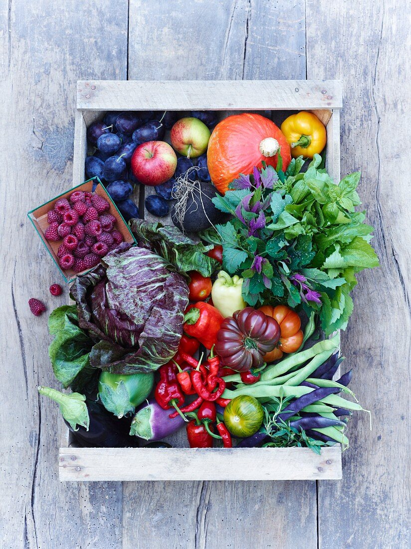 Fruit and vegetables in a crate