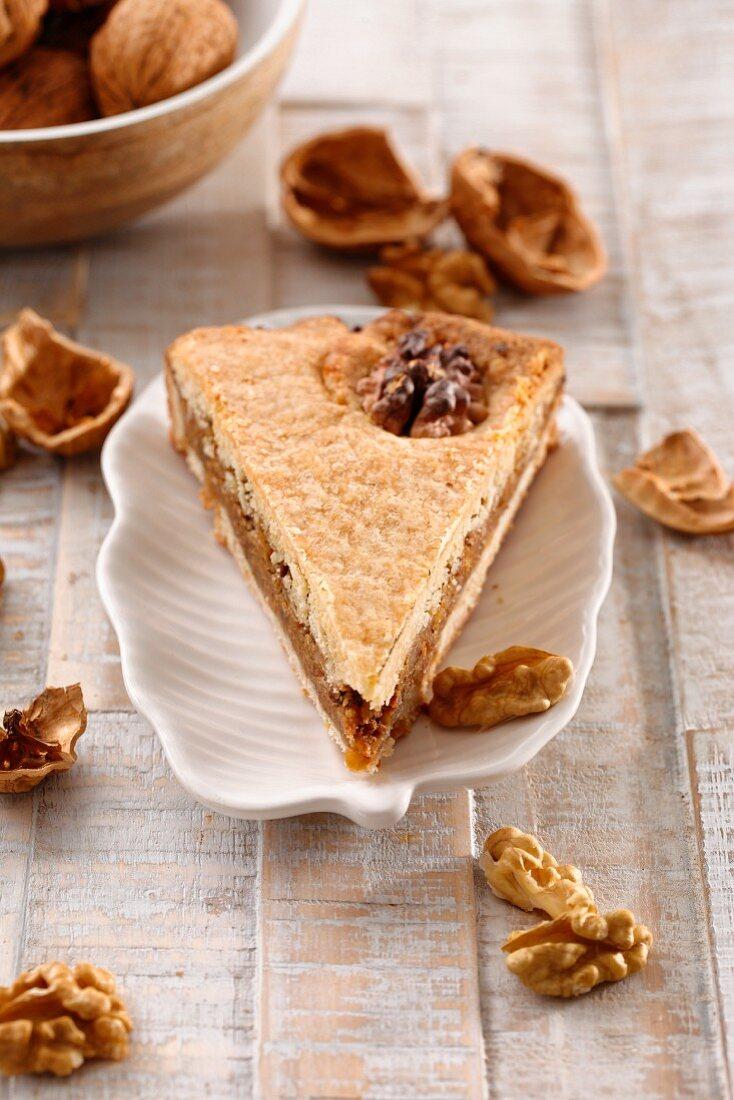 A piece of Engadin nut torte