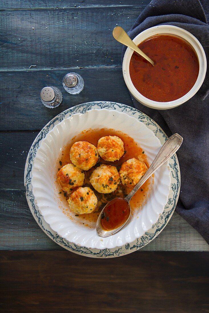 Pumpkin gnudi with tomato sauce