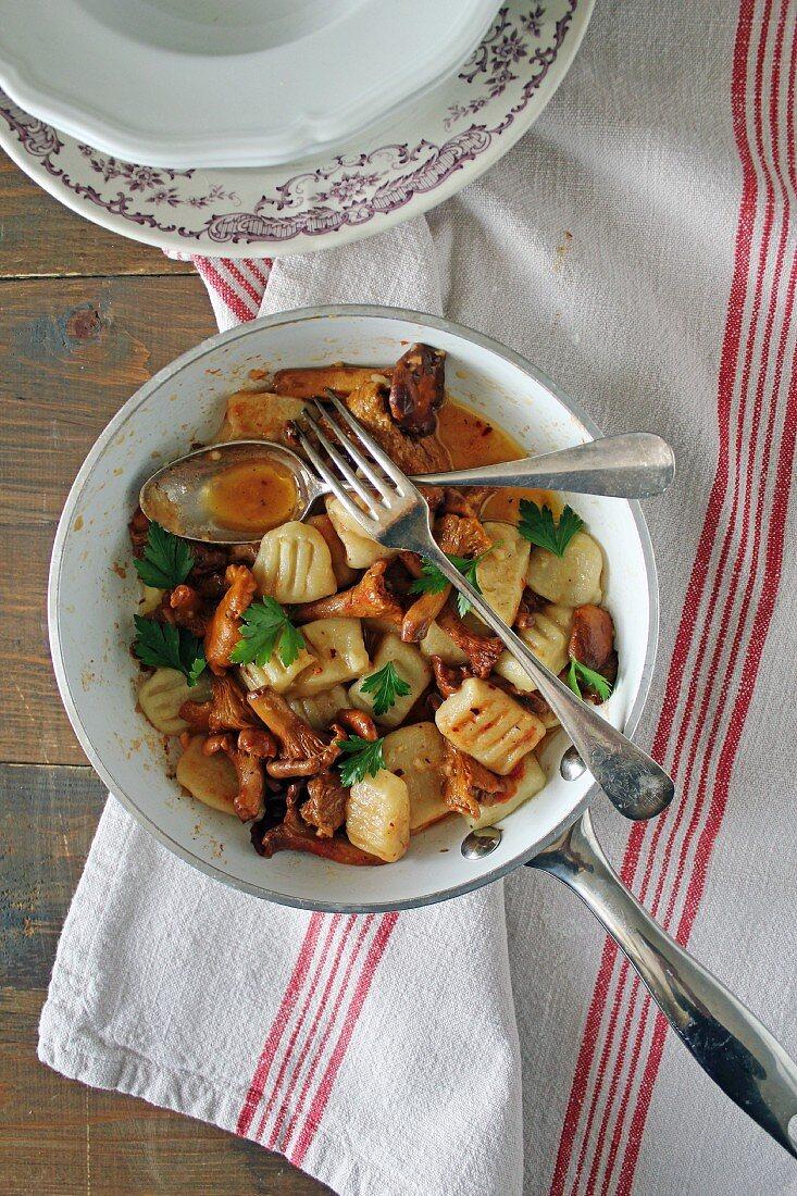 Gnocchi with chanterelle mushrooms