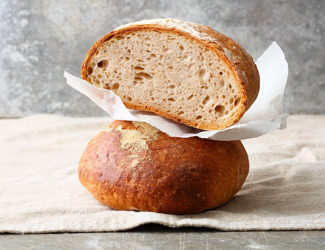 Swabian bread (that is lightly brushed with water before baking) with buttermilk