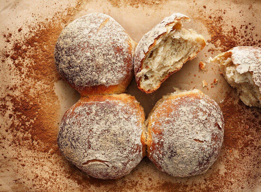 Swiss 'Bürli', large twin rolls originally from St. Gallen