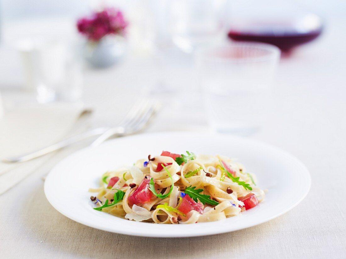 Tagliolini with raw tuna, rocket and Parmesan