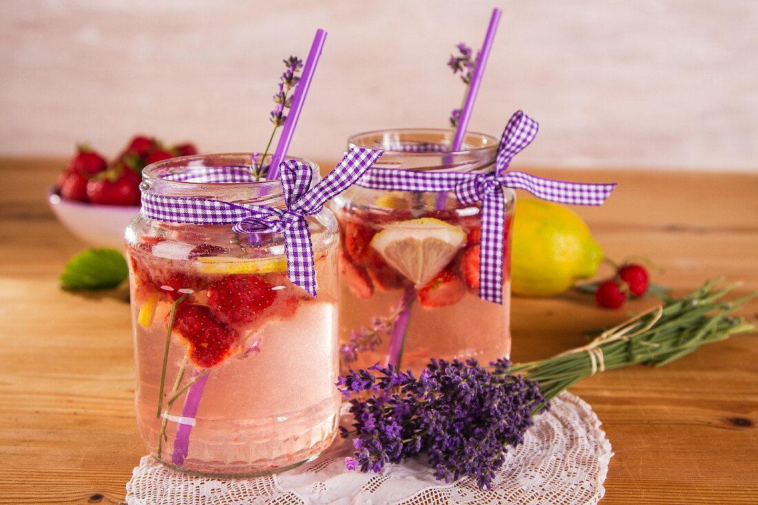 Homemade strawberry lemonade with lavender