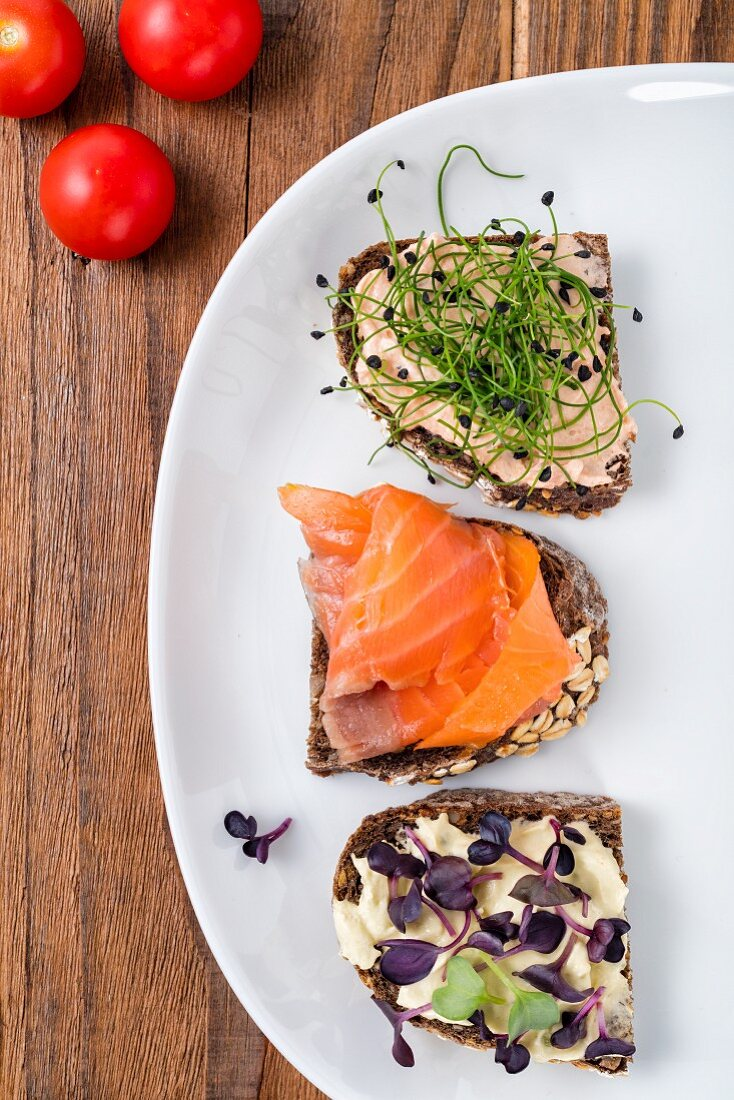 Various open sandwiches served for breakfast