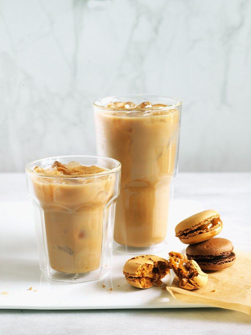 Iced coffee and macarons