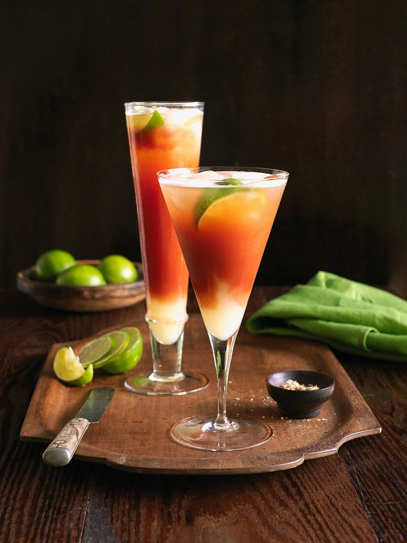 Two Michelada cocktails