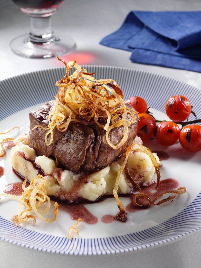 Fillet steak tomatoes mashed potato caramelised onions balsamic vinegar