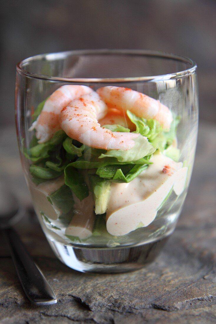 Avocado and shrimp salad in a glass