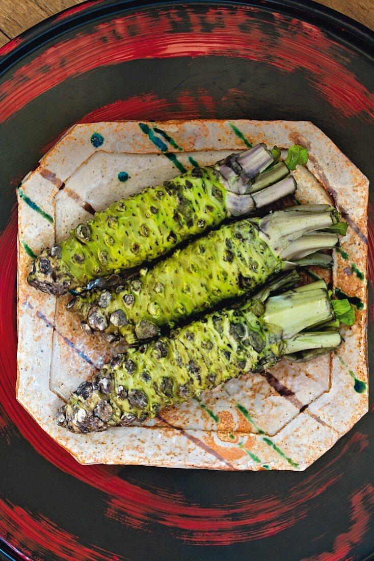 Three wasabi stems