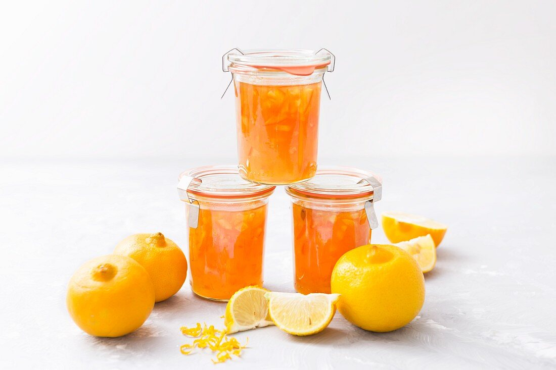 Homemade bergamot jam with zests