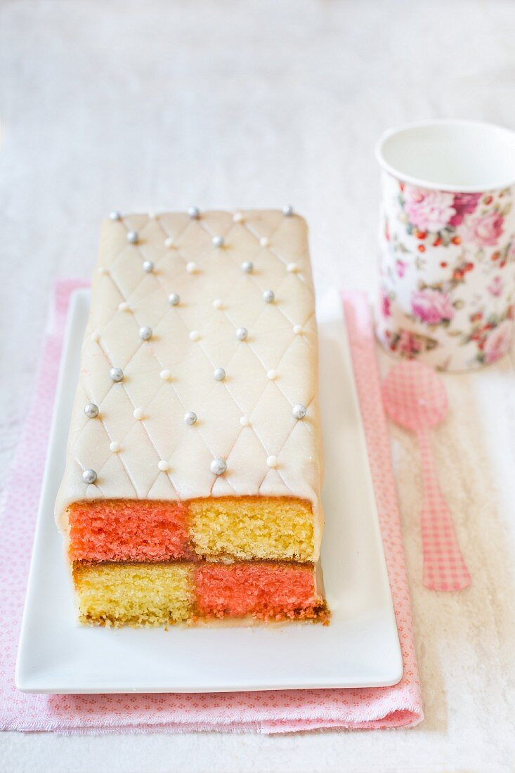 Battenberg cake with marzipan and edible silver beads