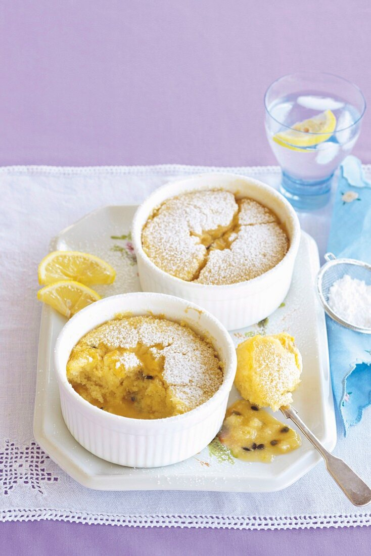 Coconut and passionfruit self-saucing puddings