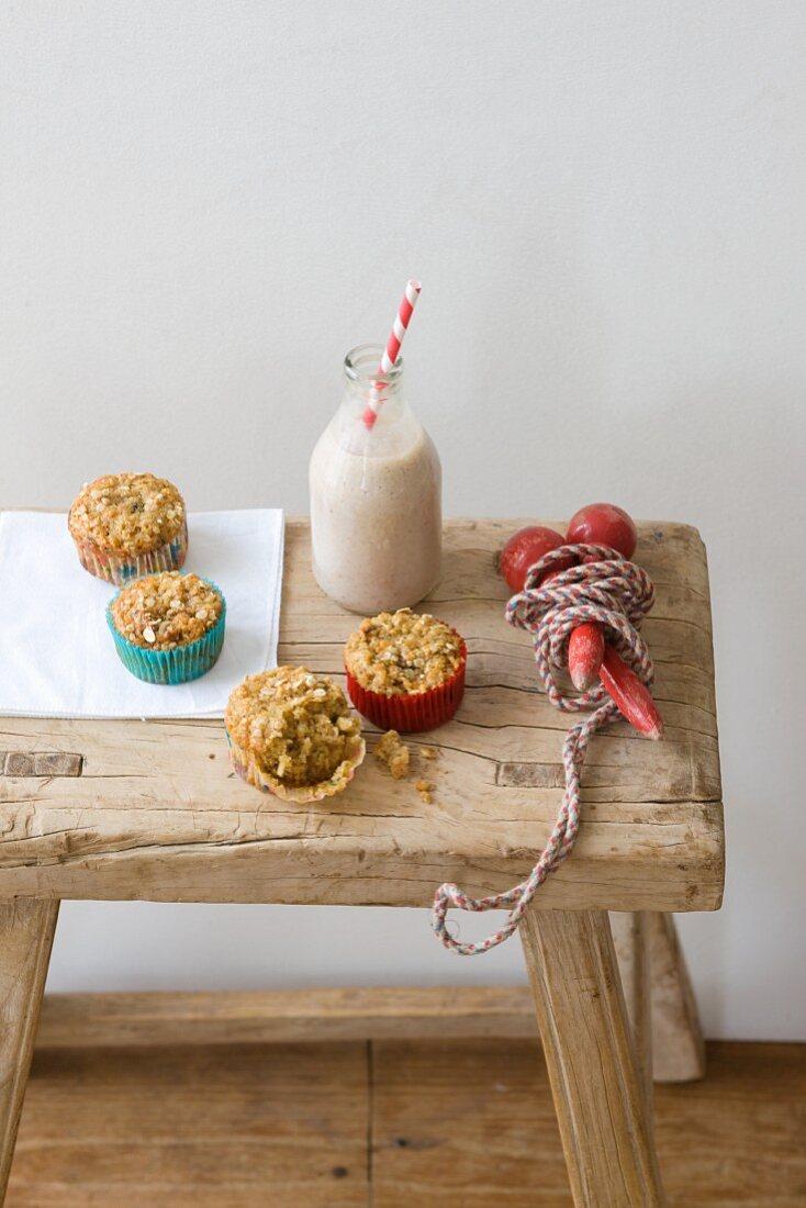 Small muesli muffins on a wooden stool