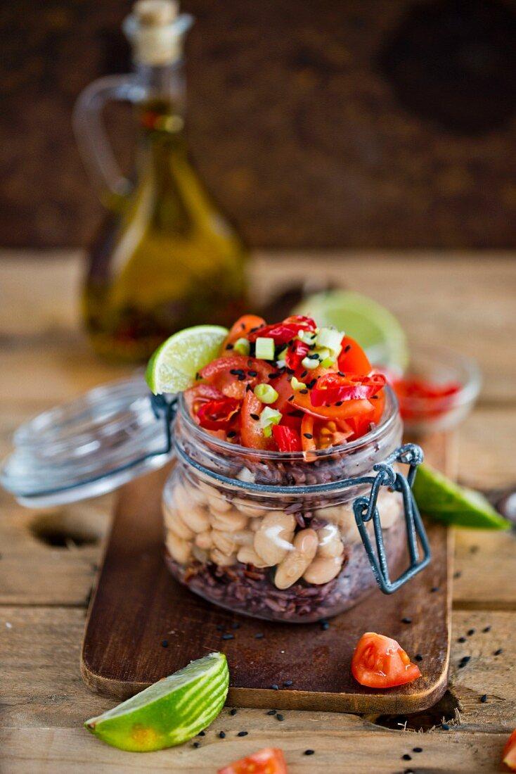 Black rice bean tomatoes chili lime salad