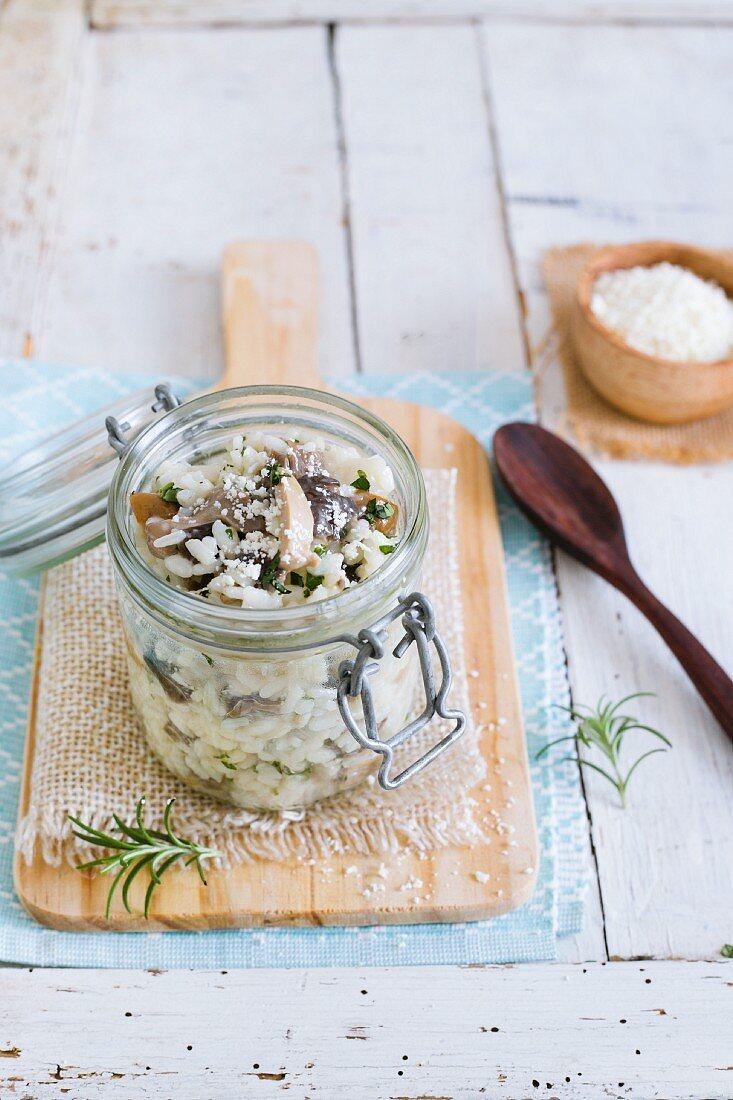Mushroom risotto in a glass jar