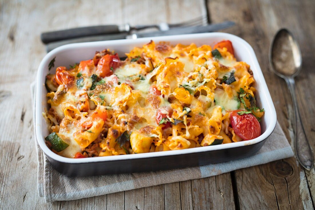 Mediterranean pasta bake in an ovenproof baking dish