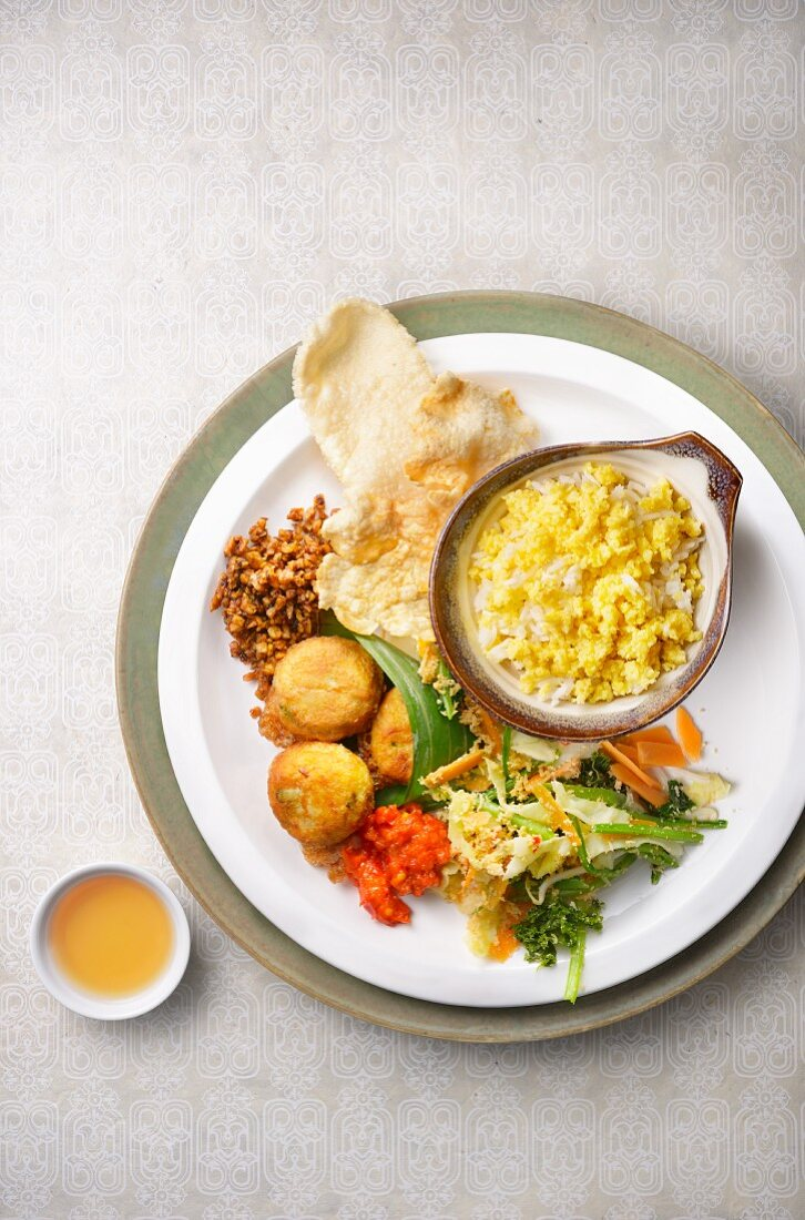 Nasi Jagung (Indonesian corn rice) with side dishes