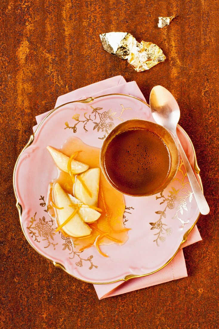 Espresso and chocolate cream with pear in orange liqueur