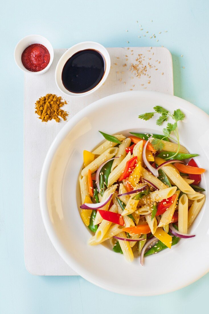 Penne with Asian-style vegetables