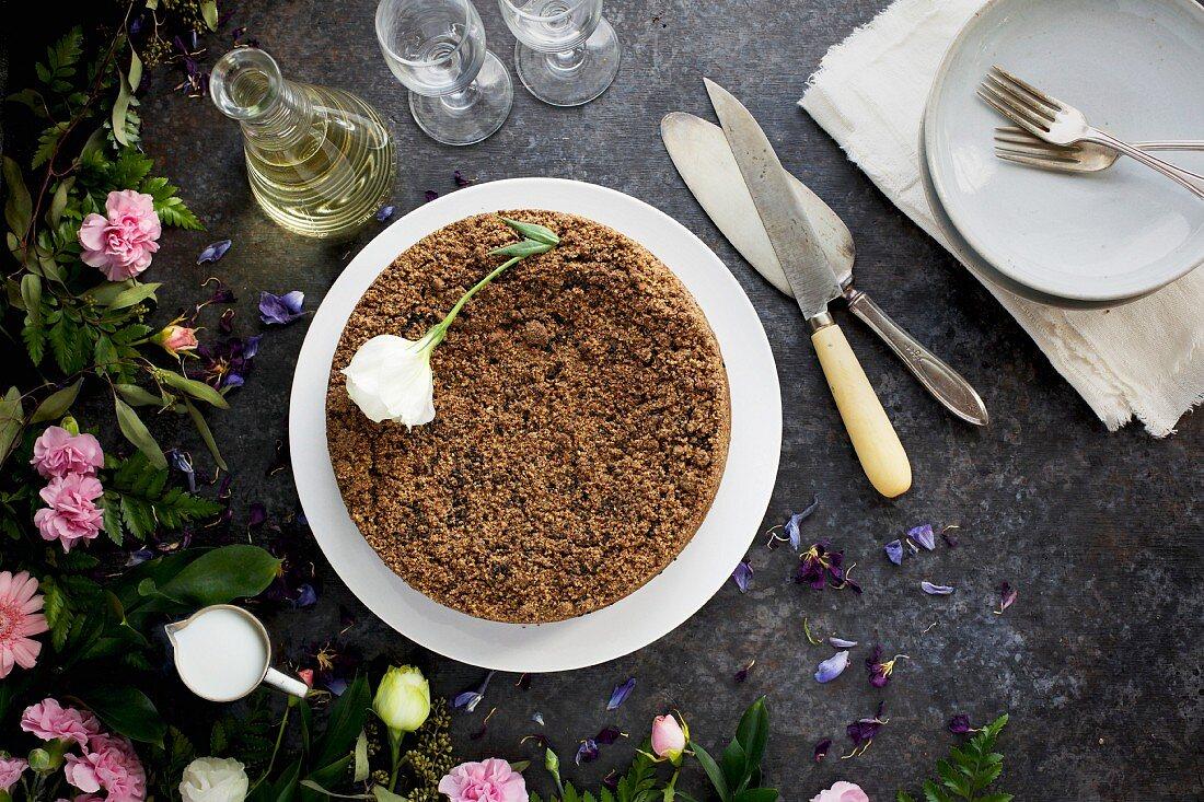 Black Sesame Crumb Cake served cream and with wine