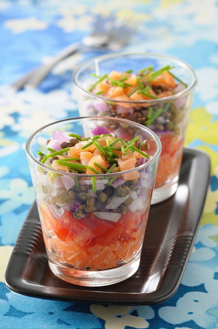 Lentil salad and salmon tartare