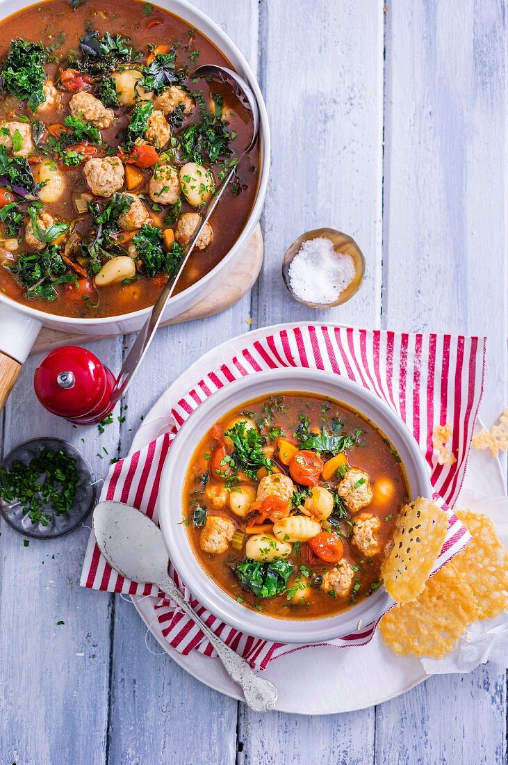 Tuscan Sausage Soup with Parmesan Crisps