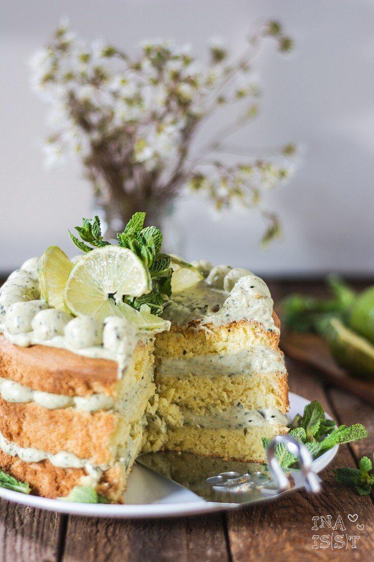 Lime cake with basil, sliced