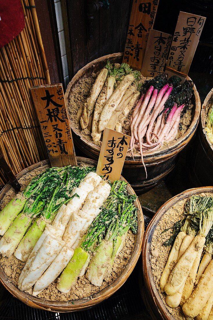 Nara Zuke (pickled vegetables, Japan) at a market