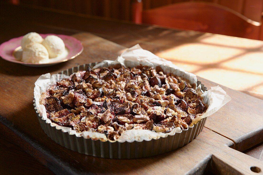 Fig tart and ice cream (Tuscany)