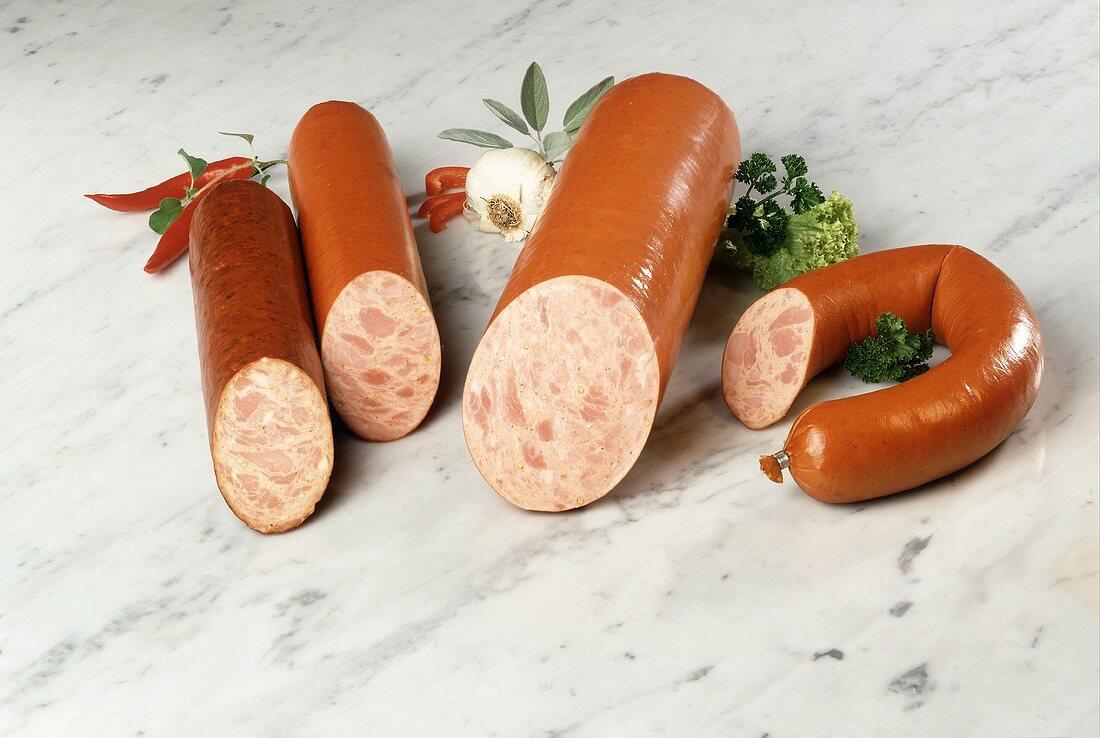 Still Life of Ham Sausages