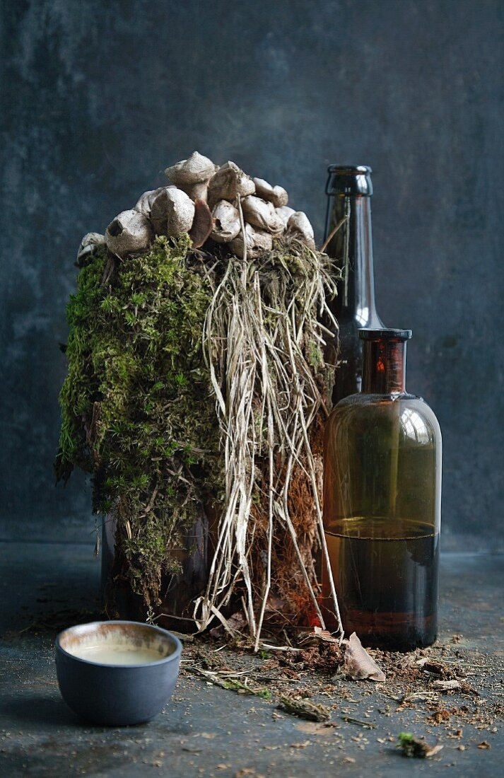 Spruce syrup in a bottle with moss decorations