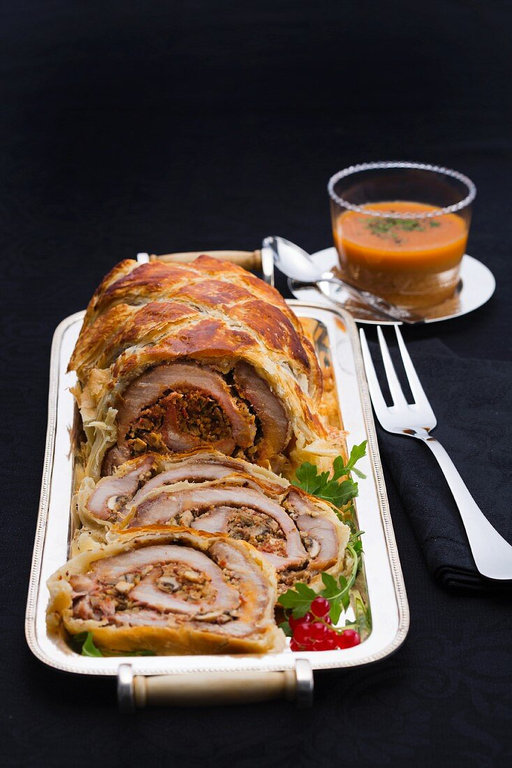 Pork loin wrapped in puff pastry