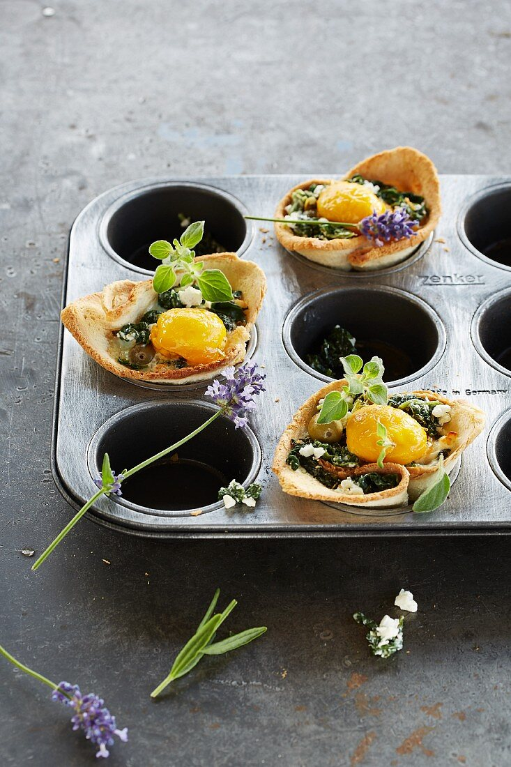 Muffin nests with spinach and egg