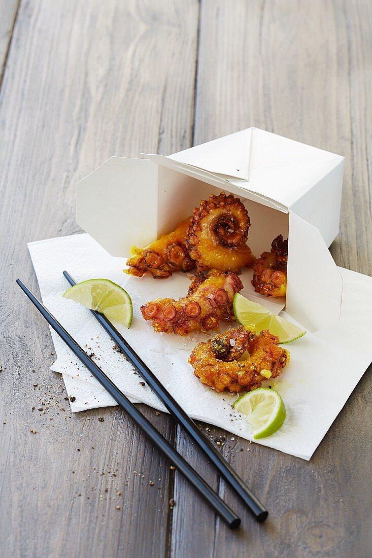 Deep fried octopus in a takeaway box