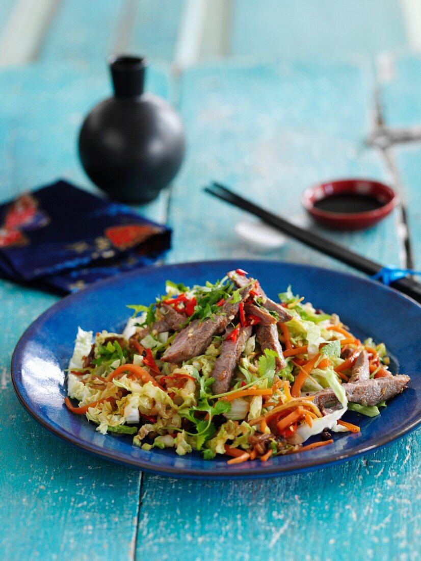 A stir fry with duck, Chinese cabbage and five spice powder (China)
