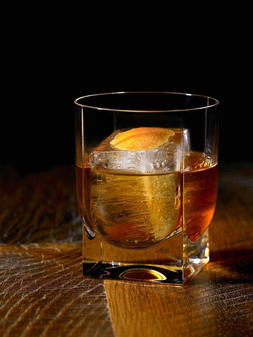A glass of Bourbon on the rocks