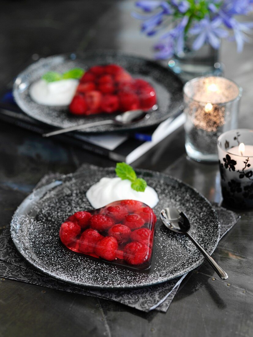 Prosecco and raspberry jelly hearts with cream