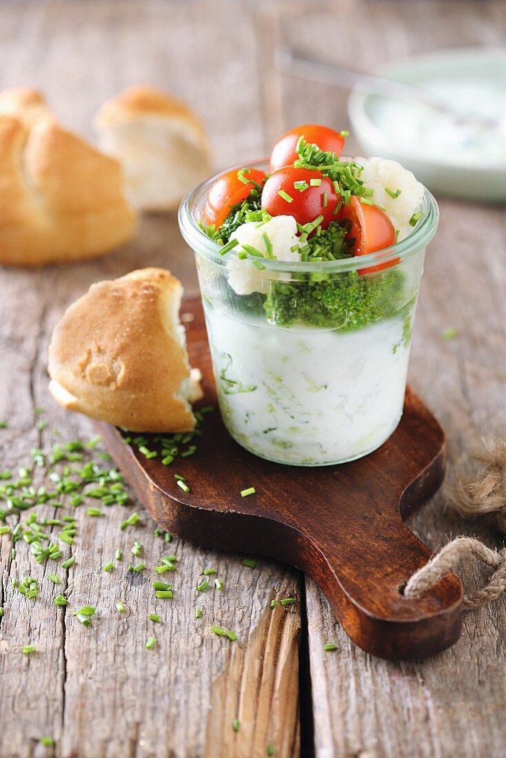 Tzatziki salad in a glass
