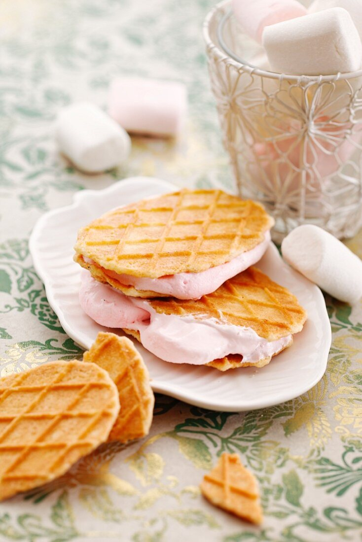 Marshmallow-filled waffles