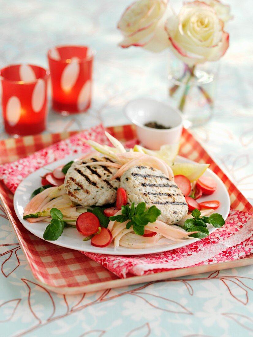 Grilled turkey meatballs on a radish and fennel salad
