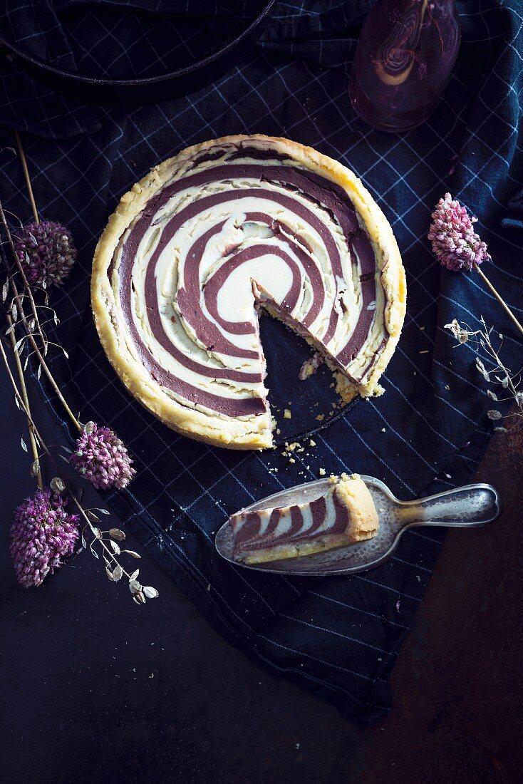 Vegan zebra cake with soya quark